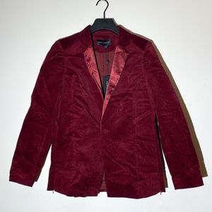NWT velvet maroon blazer with satin lapel